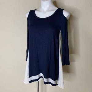 NWT The Limited Cold Shoulder LS Navy and White
